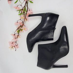 Nine West Sheelah Black Leather High Heel Booties